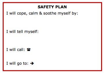AnatomyOfRecovery Safety Plan Printable Wallet Cards Printing