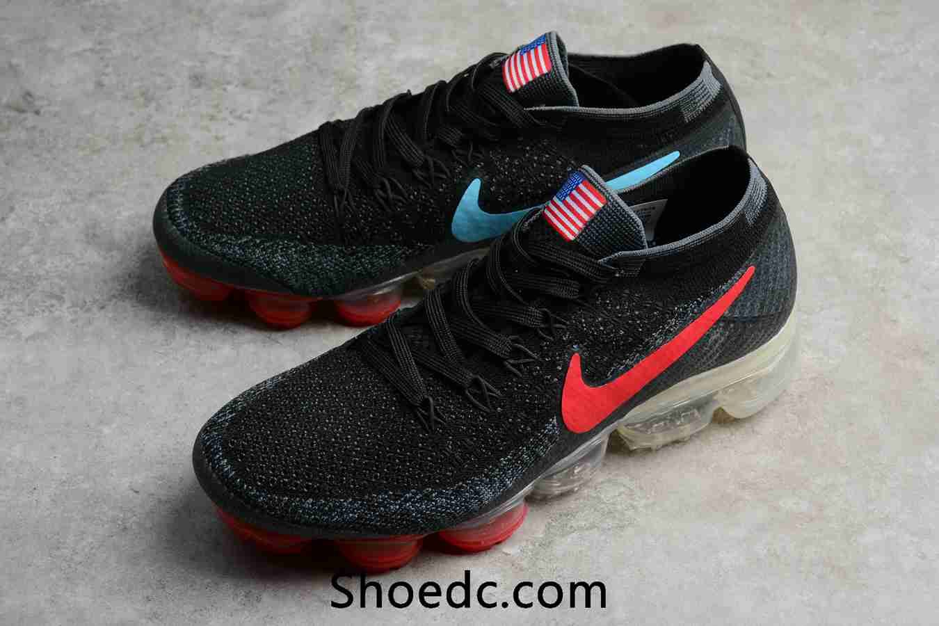 79092e769de0d New Nike Air VaporMax 2018 Flyknit Black USA Flag Women Men