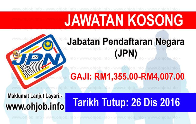 Jawatan Kosong Jabatan Pendaftaran Negara (JPN) (26