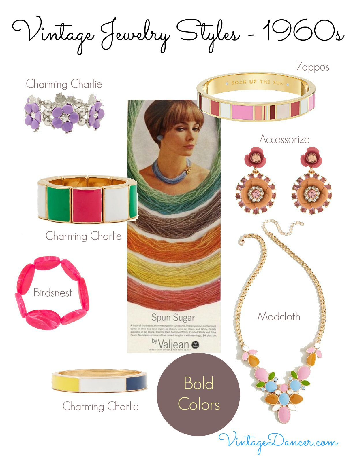 1960s jewelry styles : bold colors POP with sixties fashion