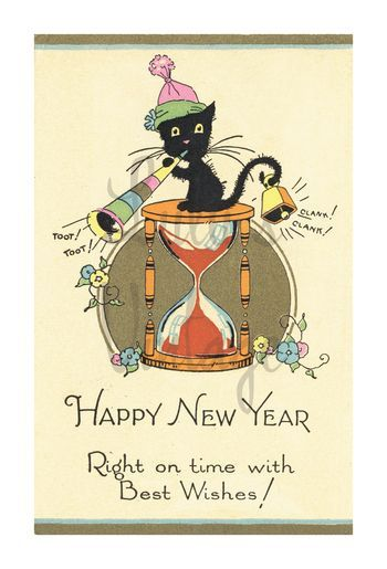 0025 Happy New Year Cat Front W Vintage Happy New Year Vintage Greeting Cards Vintage Cards
