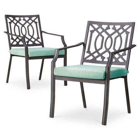 Threshold Harper 2 Piece Metal Patio Dining Chair Set Patio