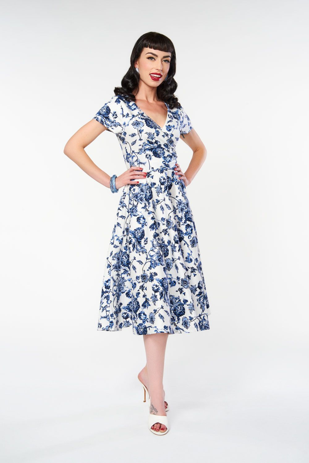 97ccebafad50 Maria Toile Floral Print Swing Dress by Collectif | Adornment ...
