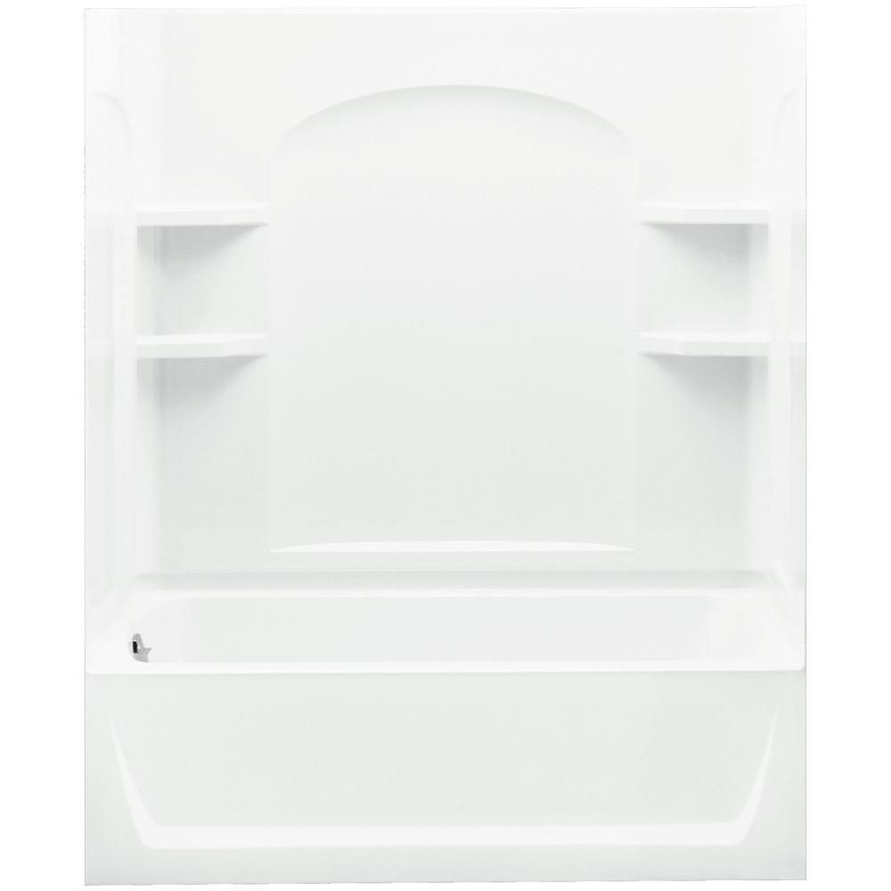 Trumbull Industries Ensemble 32 In X 60 In X 77 1 4 In Bath And Shower Kit Left Drain In White With Above Floor Drain And Backer Boards Bathtub Shower Shower Tub Bathtub