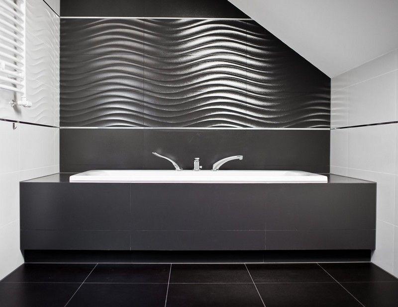 salle de bain noir et blanc avec