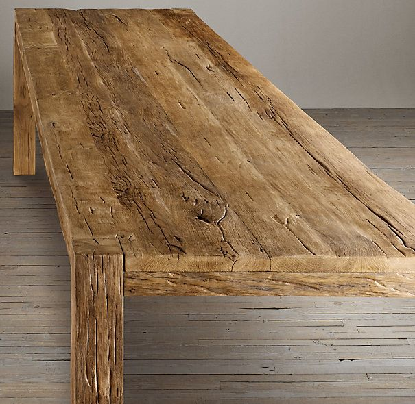 Reclaimed Russian Oak Parsons Rectangular Dining Table In 2020 Dining Table Kitchen Table Oak Rectangular Dining