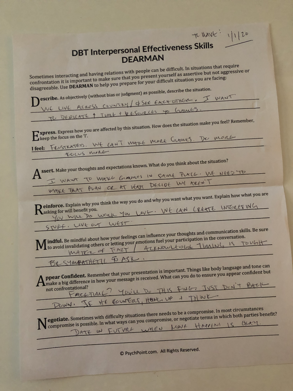 Dearman Interpersonal Skills Dialectical Behavior Therapy