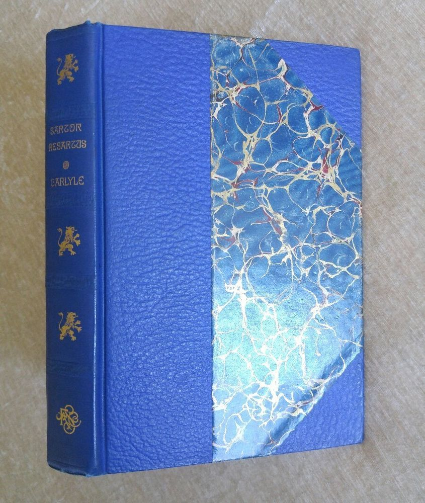 1893 Sartor Resartus Thomas Carlyle Antique Victorian Classic Philosophical Fiction Beautiful Blue Binding Antiques Victorian Leather Books