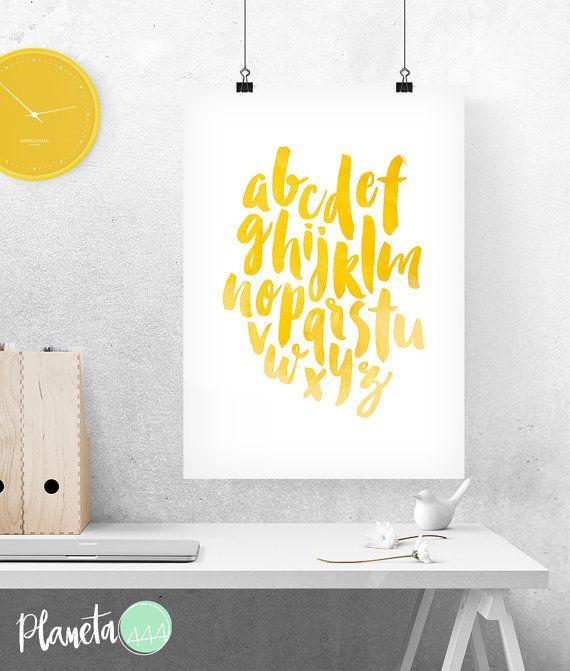 Alphabet Abc Yellow Watercolor Ink Poster Prints Printable Decor ...