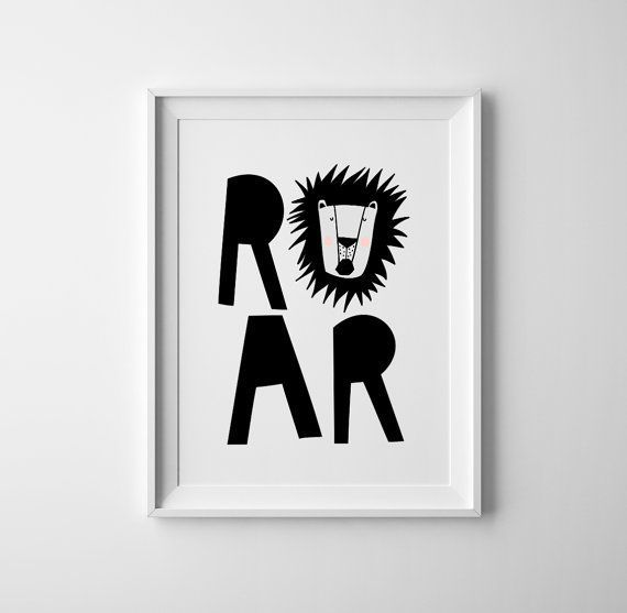Baby lion wall art lion roar baby room art in black and white jungle lion typography print modern print wall art baby shower art
