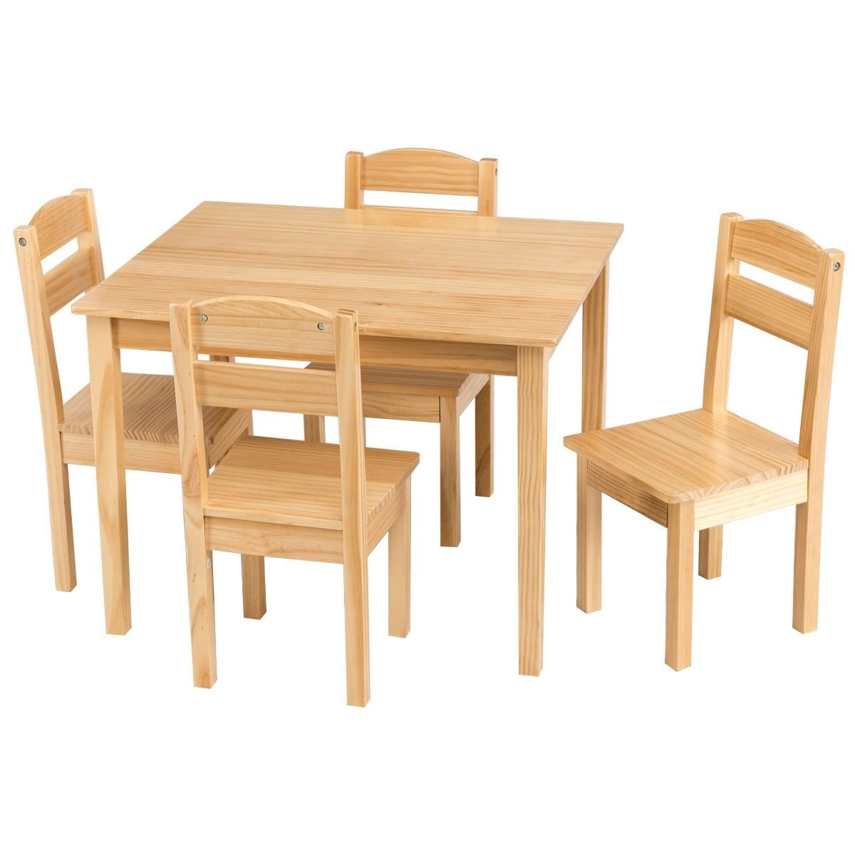 5 Pcs Kids Pine Wood Table Chair Set 84 95 Free Shipping This Child Sized Table Chair Set Is A Perfect Kids Wooden Table Toddler Table Kids Table And Chairs