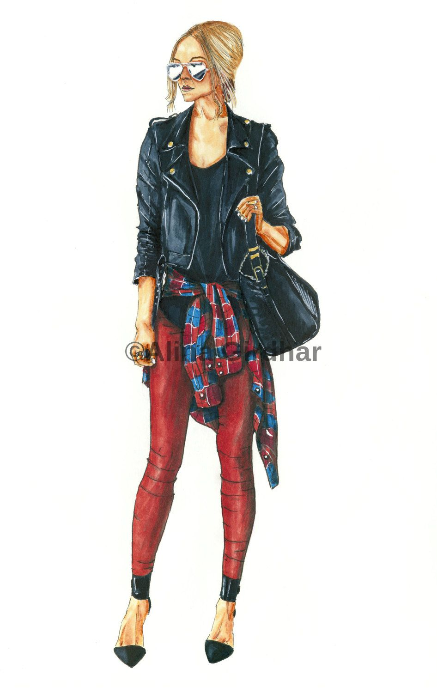 "Custom fashion illustration by ""LOOKillustrated"""