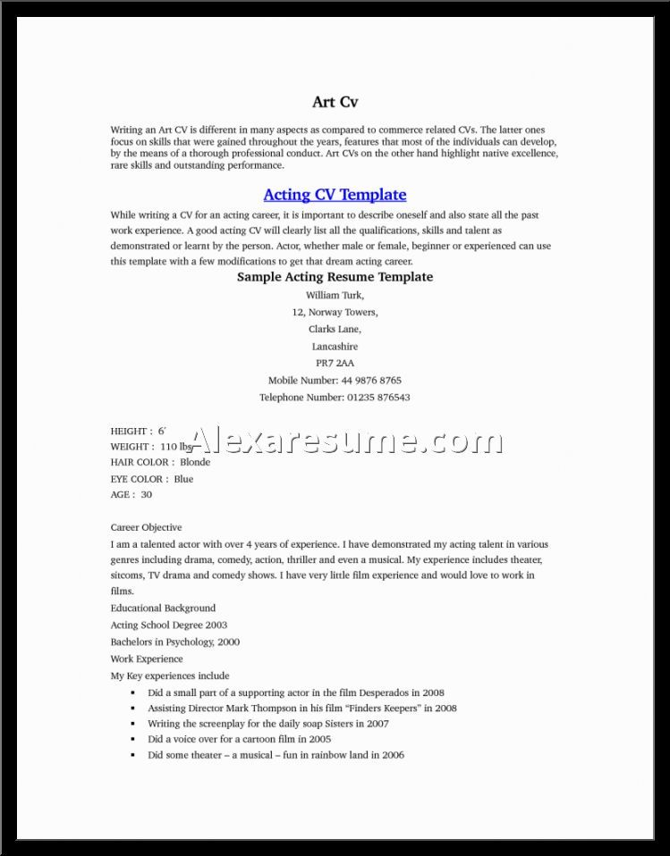 Acting Resume Example Format Template For Auditions Child  Home