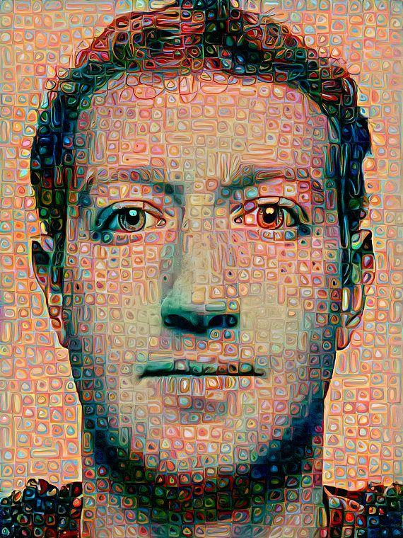 . Limited edition painting of Facebooks Mark Zuckerberg fused with the
