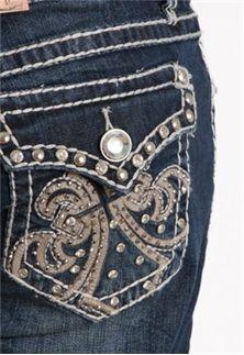 La Idol Jeans Plus Size Upside Down Fleur De Lis Bootcut 1621lp