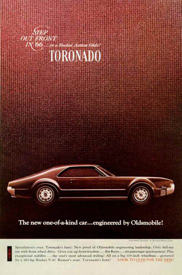 Oldsmobile Toronado 1966 One Of A Kind Car - Mad Men Art: The 1891-1970 Vintage Advertisement Art Collection