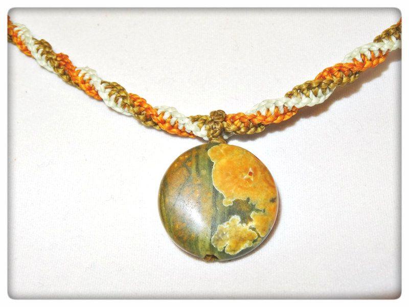 Edelstein Kette Jaspis Regenwald von Sunnseitn Kunsthandwerk auf DaWanda.com