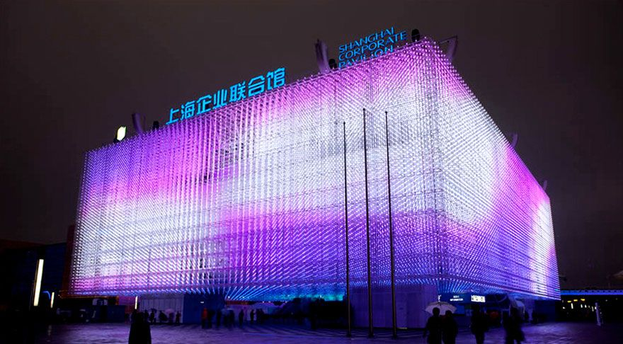 La fachada interactiva de LEDs de la Confederation of Danish