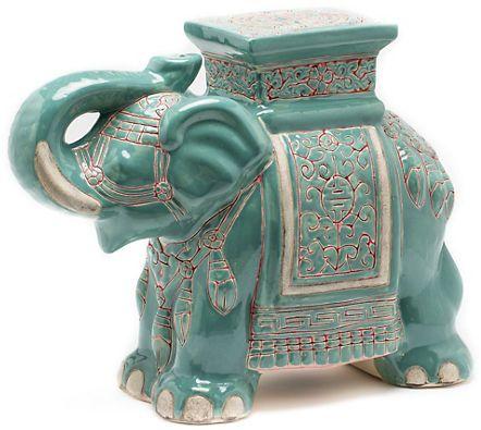 Gumps Ceramic Elephant Garden Stool