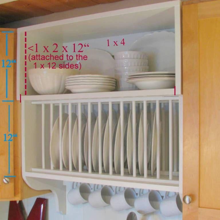 Dimensions Of Plate Rack Cabinet Diy Diy Plate Rack Builder Grade Kitchen Plate Shelves