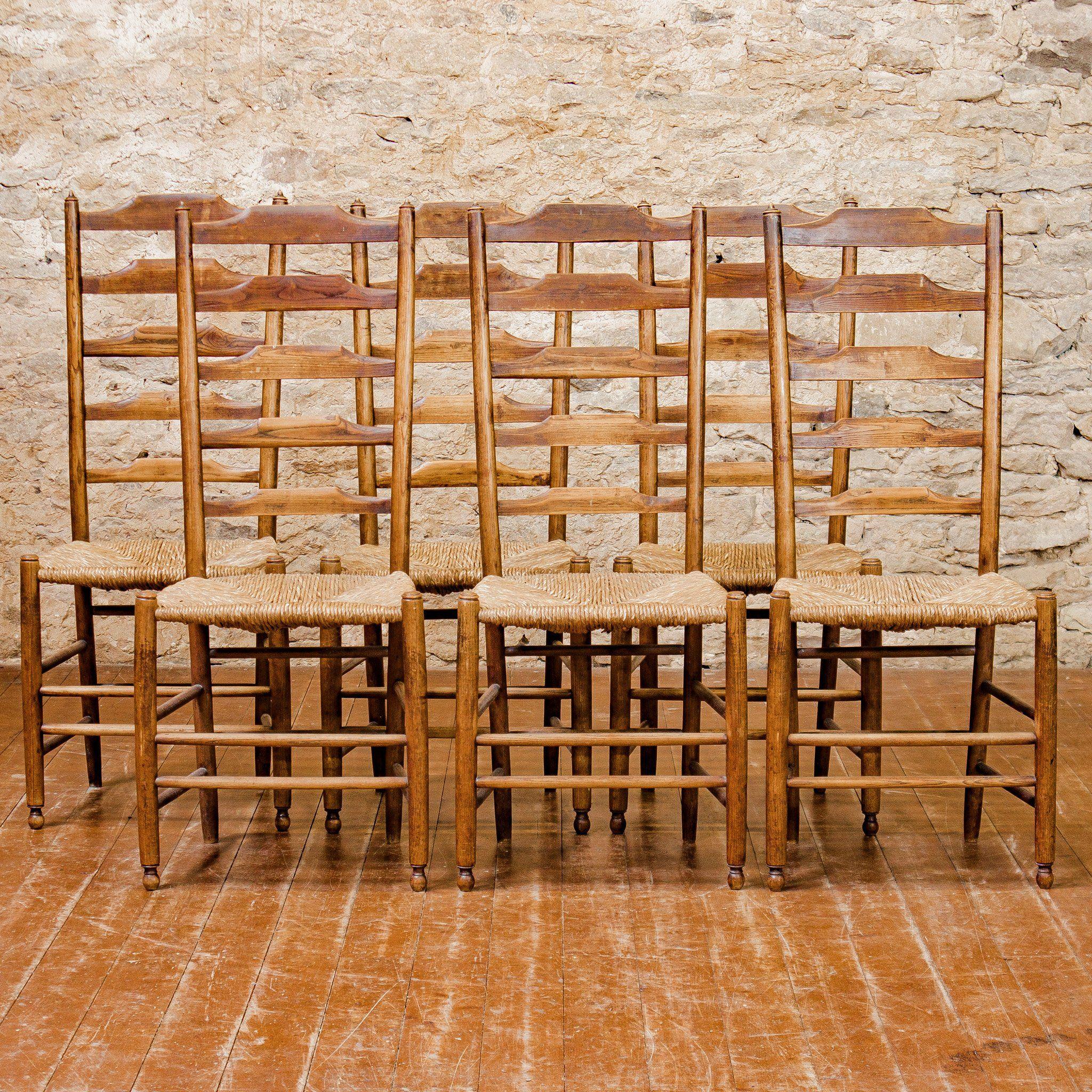 Set Of 6 Philip Clissett Arts Crafts Cotswold School Ash