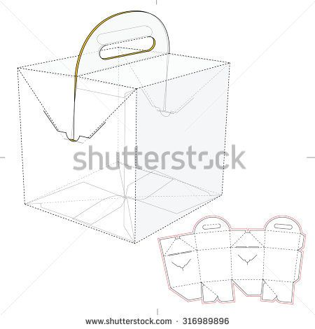 Tapered Square Fast Food Box With Handles And Die Line Template Box Template Paper Box Template Origami Cube