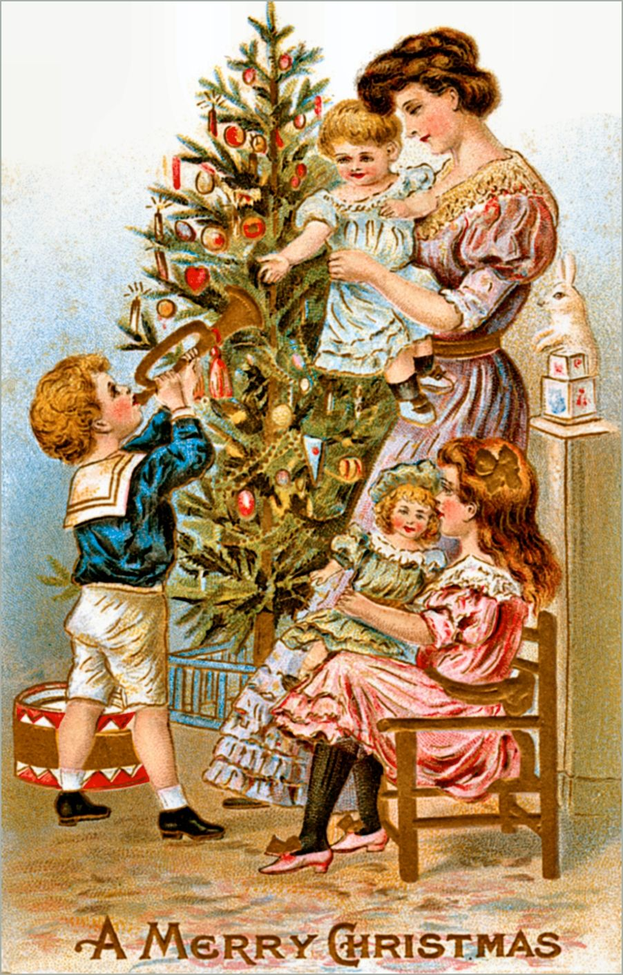 victorian christmas card vintage ephemera mother with her children