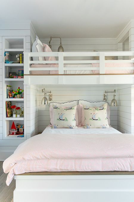 The Queen Bed Can Accommodate Two Girls While The Bunk Above Is Ideal For A Young Boy Or The Larger Bed Ca Shared Girls Room Cool Loft Beds Diy Girls Bedroom