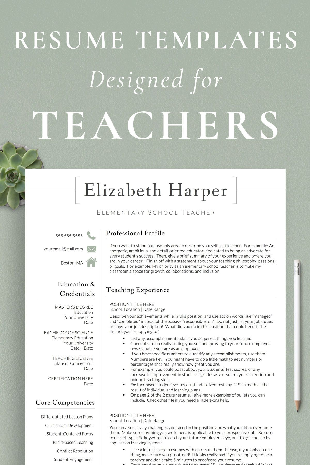 Teacher Resume Template For Word Pages Teacher Cv Etsy Teaching Resume Elementary Teacher Resume Teacher Resume Template