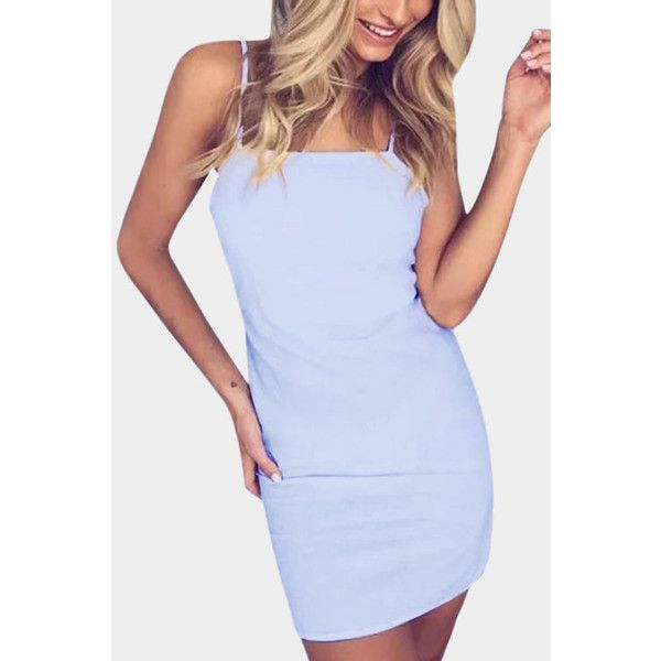 aa14bb4f172 Yoins Light Blue Cutout Back   Self-tied Design Square Neck Mini Dress (230  ZAR) ❤ liked on Polyvore featuring dresses