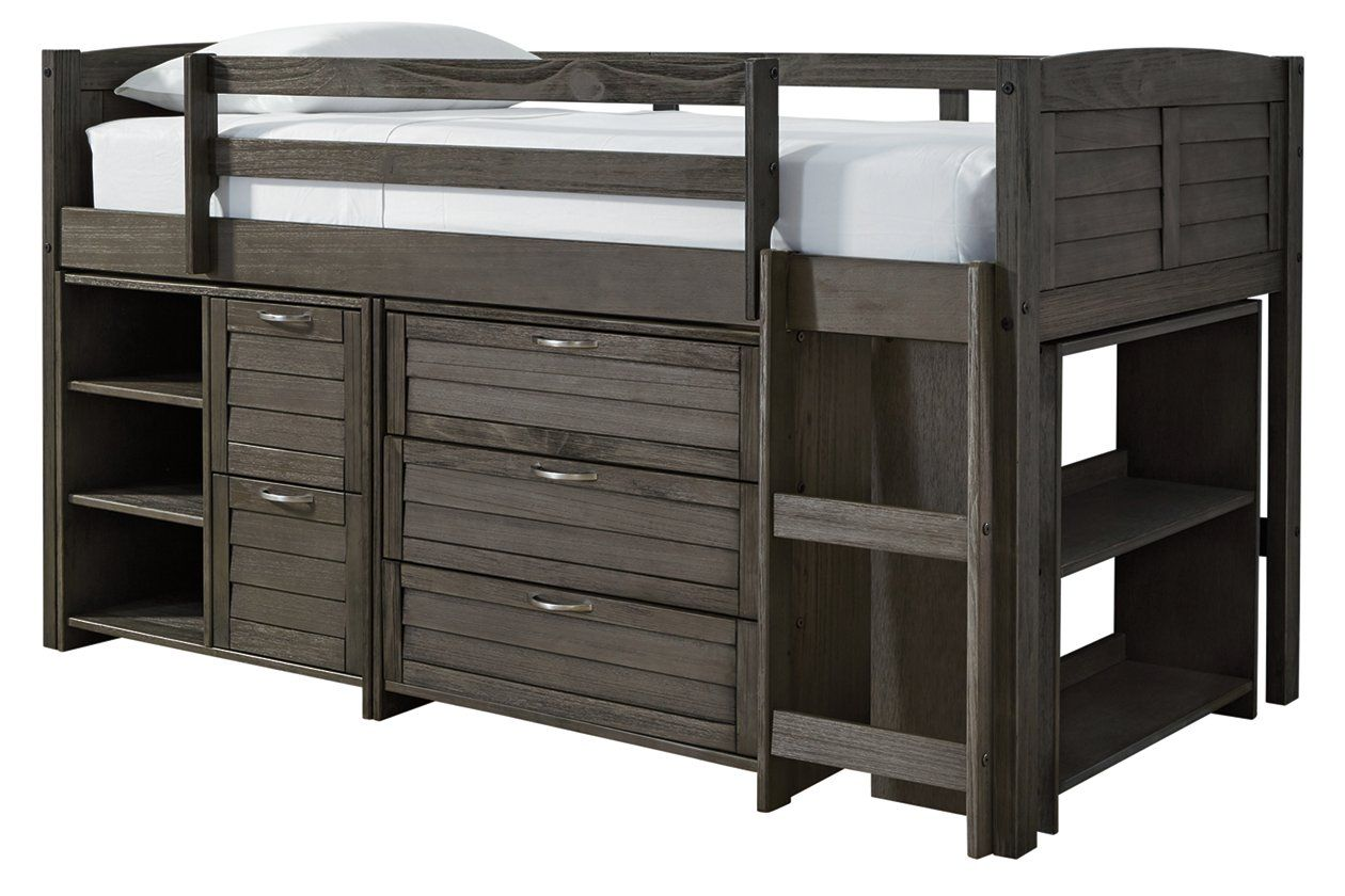 Caitbrook Twin Loft Bed With 1 Large Storage Drawer With Images Twin Loft Bed Loft Storage Loft Bed Frame