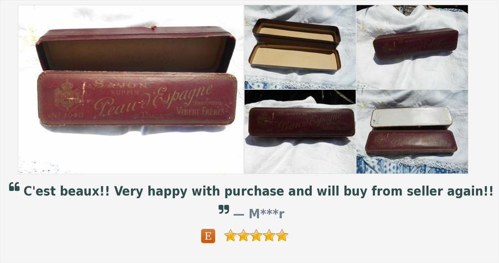 Rare 1900's Art Nouveau Soap Box Peau d'Espagne Parfumerie Vibert Frères Paris N. 1045   https://www.etsy.com/listing/227894320/…