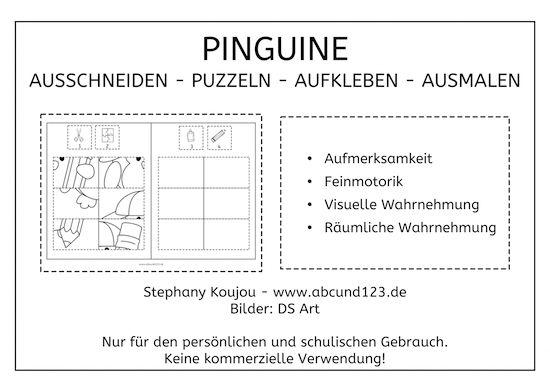 pinguin puzzles freebie wahrnehmung feinmotorik lesen schreiben rechnen schule. Black Bedroom Furniture Sets. Home Design Ideas