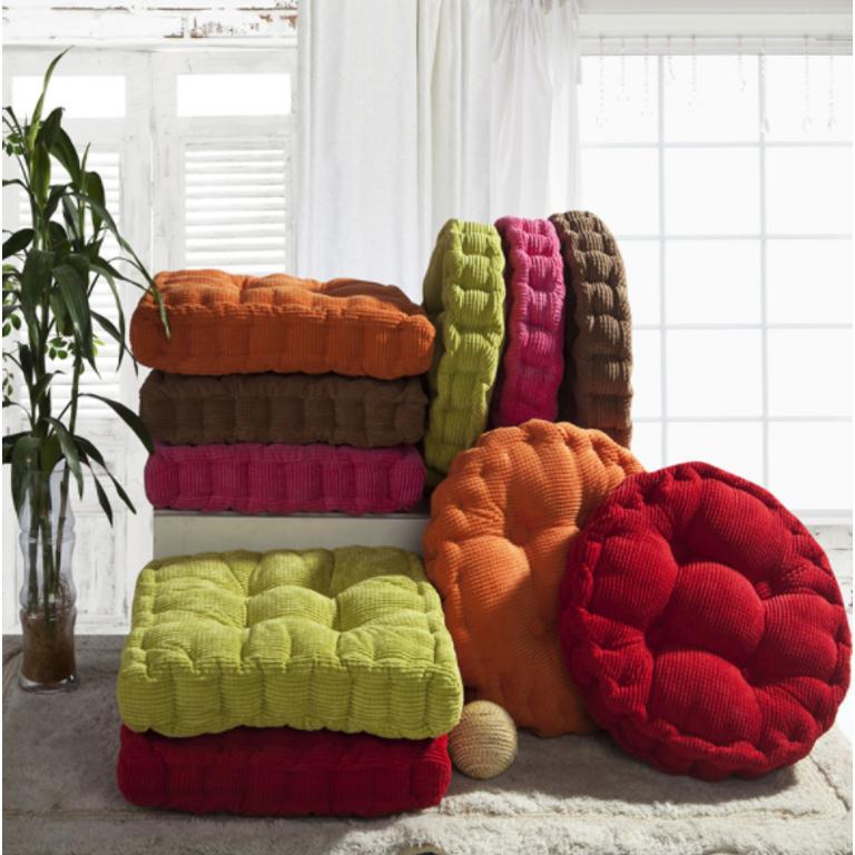18x18 inch Comfortable Corduroy Tufted Cushion Soft Thicken Corduroy Chair Cushion Chair Pad Tatami Floor Cushion for Living Room Balcony Garden Patio Office Indoor Outdoor
