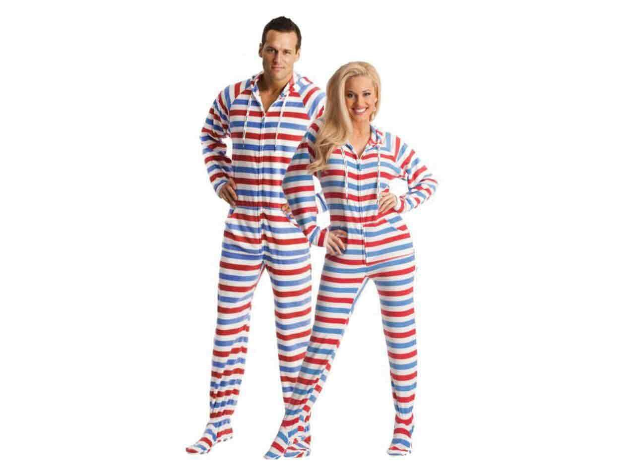 Red White And Blue Adult Footed Americana Onesie PJ