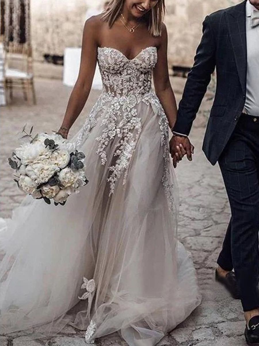 Sweetheart Appliques Strapless Tulle Country Wedding Dress Wedding Dresses Strapless Wedding Dresses Corset Wedding Dresses Lace [ 1200 x 900 Pixel ]