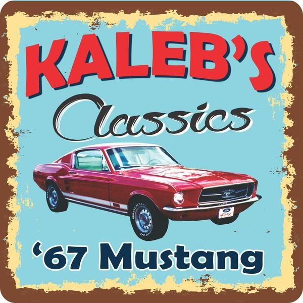 1967 Mustang Classic Car Personalized Sign with Retro Font, Aged Border & Blue Background