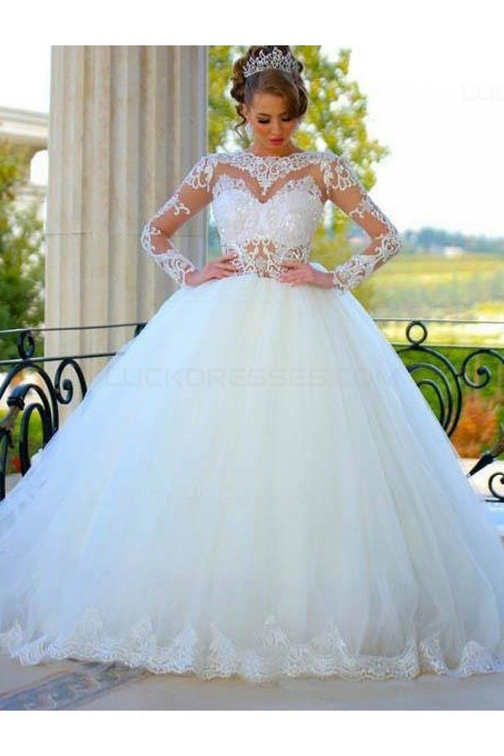 Ball Gown Long Sleeves Lace Wedding Dresses Bridal Gowns 3030080 ...