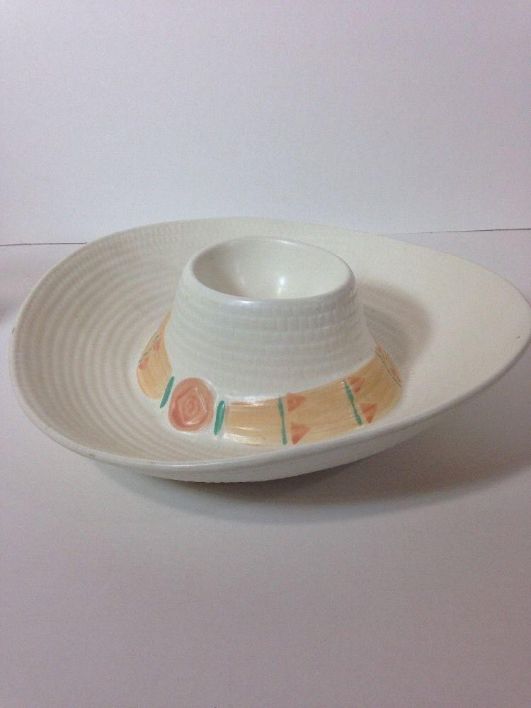 Treasure Craft Taos Sombrero Hat Cream Coral Green Chip DIP Bowl | eBay