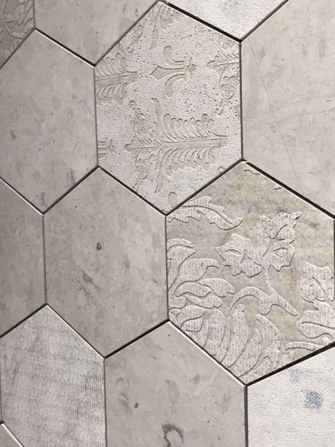 engraved stone hexagonal mosaic tiles petra antiqua. Black Bedroom Furniture Sets. Home Design Ideas
