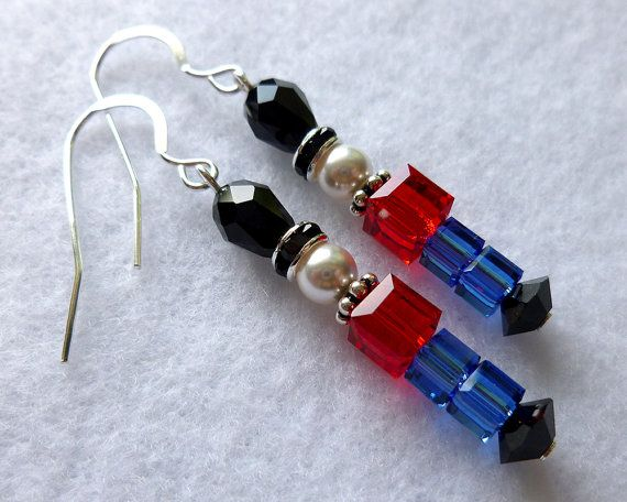Toy Soldier Nutcracker Christmas Holiday Earrings, Sterling Silver & Swarovski Crystal