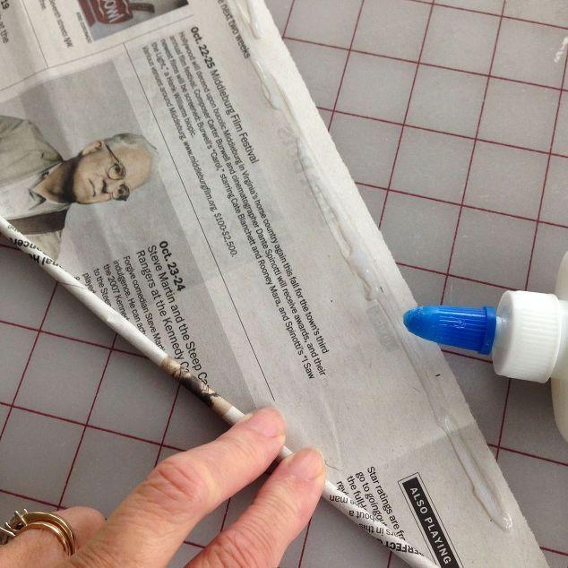 riciclato tubi vassoio di giornale, artigianato, decoupage, riproporre upcycling, arredamento vacanza stagione