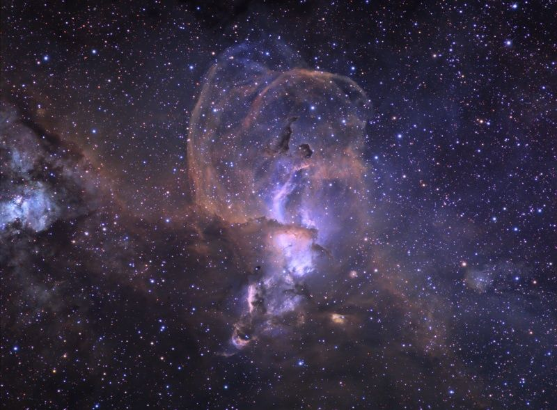The NGC 3576 Nebula drifts through the Sagittarius arm of our spiral Milky Way Galaxy.  (credit & copyright: Ken Crawford (Rancho Del Sol Observatory), Macedon Ranges Observatory)