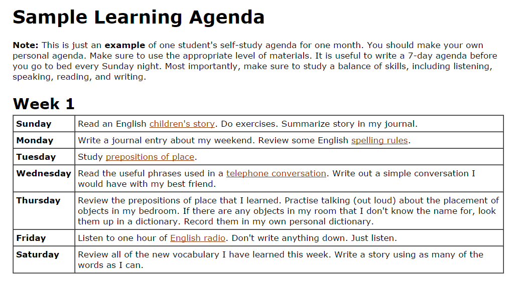 Sample Learning Agenda  English