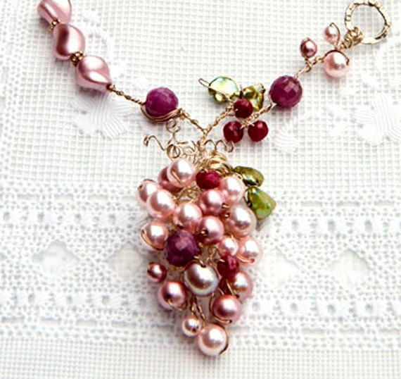 Pink Statement Necklace Bridal Necklace by CherylParrottJewelry, $224.95