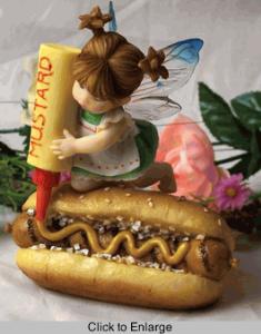 My Little Kitchen Fairies Figurine Mustard on Bratwurst