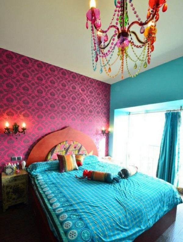 Moroccan Bedroom Decorating Ideas Blue Bed Colored Chandelier
