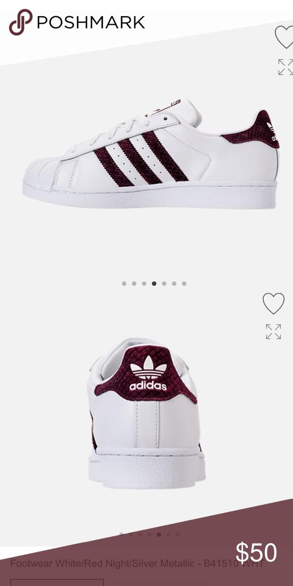 Adidas superstar with marooon stripes