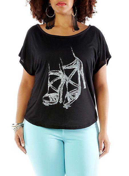 Plus-Size High-Heels T-Shirt,BLACK,large