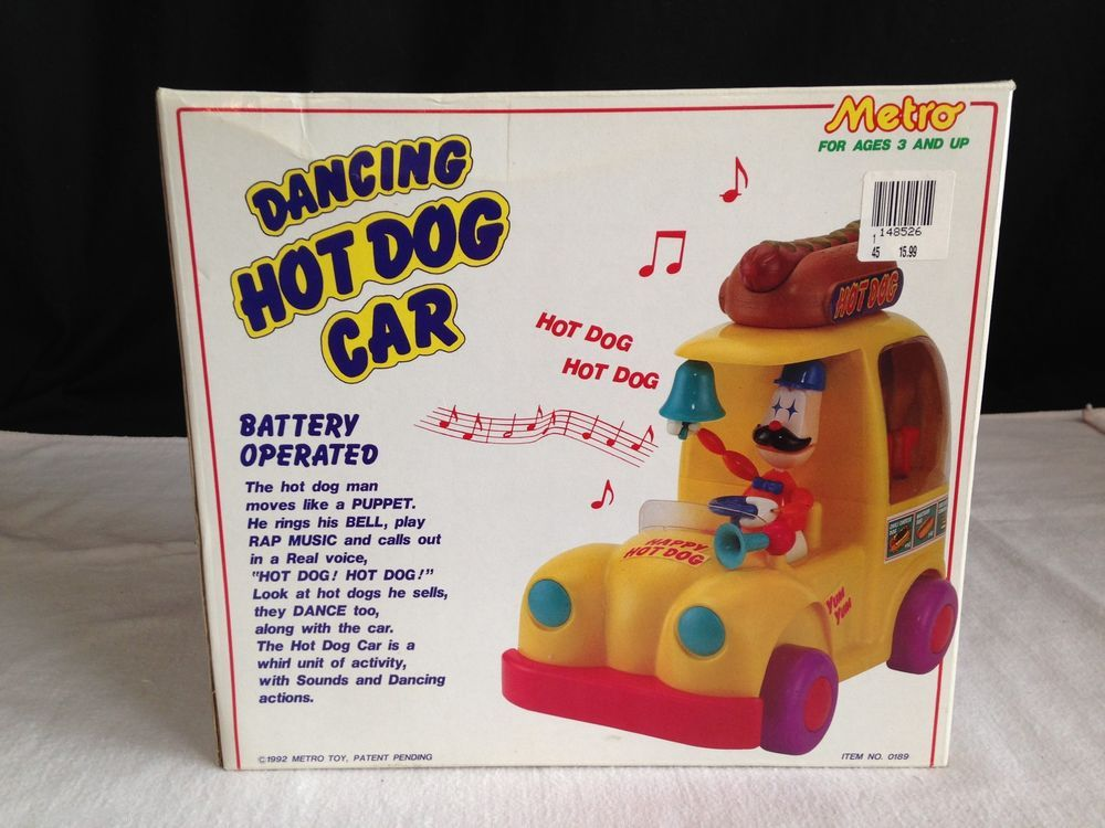 New In Box Rare 1992 Dancing Hot Dog Car Battery Operated Toy By
